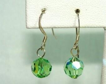 Peridot Swarovski Crystal Glass EARRINGS Handmade with STERLING Silver
