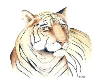 Tiger - Signed Fine Art Print - tiger watercolor wildlife art home decor, tiger print home decor burnt orange and black stripes