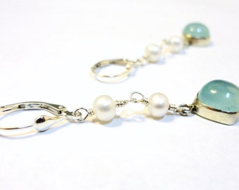 Peruvian Chalcedony and Pearl Drops