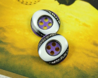 Modern Button - Oval White Center with Shiny Silver Glitter Garnish Plastic Buttons,0.51 inch  (10 in a set)