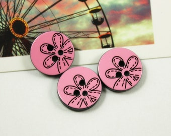 Specail Plastic Buttons - Cute Flower Outline Pink Plastic Buttons.  0.47 inch, 10 pcs.