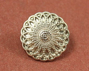 Metal Buttons - Mandala Flower Metal Buttons , Shiny Silver Color , Shank , 0.67 inch , 10 pcs
