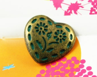 Metal Buttons - Flowers in Heart Metal Buttons , Brass Cyan Color , Shank , 0.91 inch , 10 pcs