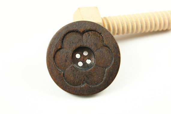 Large Wooden Buttons - Intaglio Carving Big Flower Bloom Dark Brown Color Wooden Buttons, 1.58 inch (6 in a set)