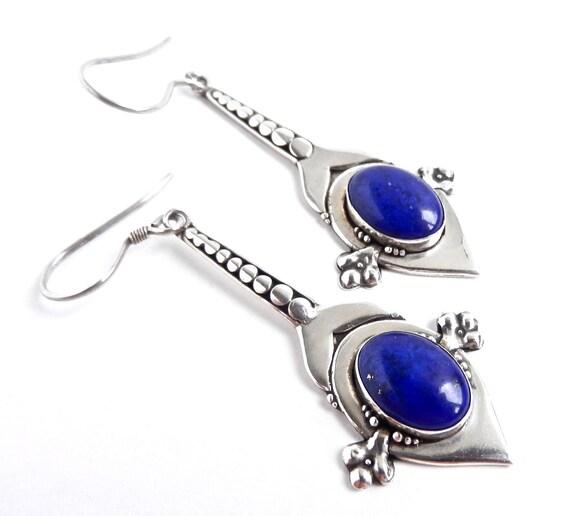 Vintage Sterling Silver Lapis Earrings -  Dangle Pierced Jewelry / Dark Boho Blue