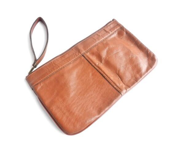 Vintage Brown Leather Clutch -  1960s / 1970s Rustic Wristlet Purse