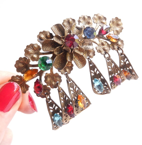 Antique Dangle Brooch - Colorful Rhinestone Flower Costume Jewelry / 1930s Floral Trouver