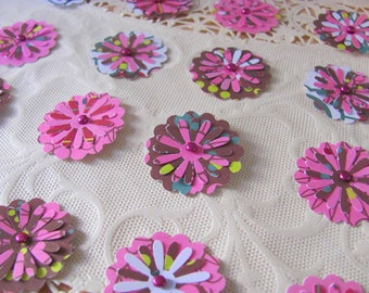 20 Embellishments Cranberry Chocolate Swirl Scrapbooking Brown Magenta Pink Scallop Paper Posies with Metal Brads Sweetheart Crush Valentine