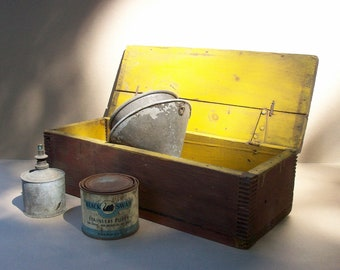 Vintage Wood Box / Distressed Rustic / Homemade Handmade / Barn Red and Yellow