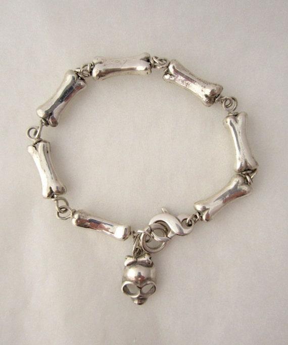 Sterling Silver Bracelet  Bones  with Skull Charm.