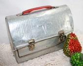 Vintage Metal Lunch Box, silver with red handle