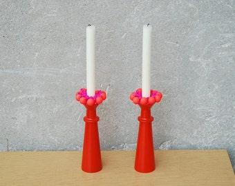 Vintage Danish Candle Holders by Lonborg in Atomic Orange