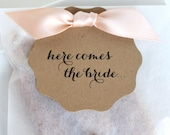 Here Comes the Bride Shower Favors - Fleur de Sel Caramels in Eco Friendly White Glassine Envelopes - 25 Guests