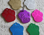 Braille embossed pawprint collar tag