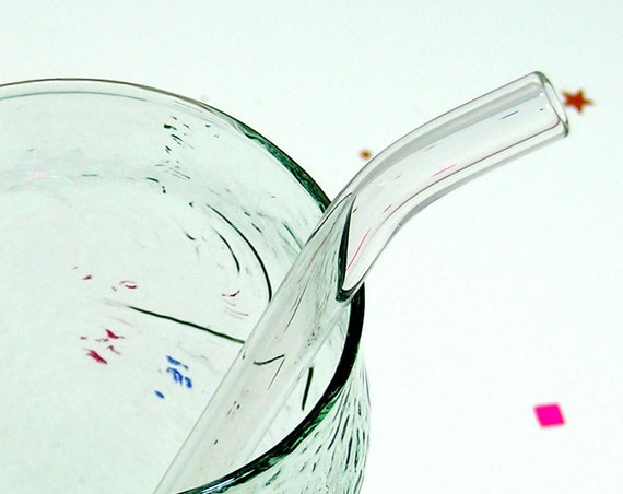 Clear Glass Drinking Straw - Bent Glass Straw
