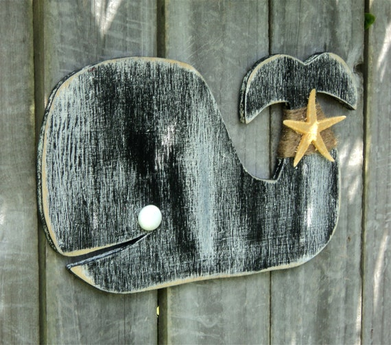 Beachy Wooden Whale,  Mantle Display, Rustic Wall Hanging, Casual Cottage Decor