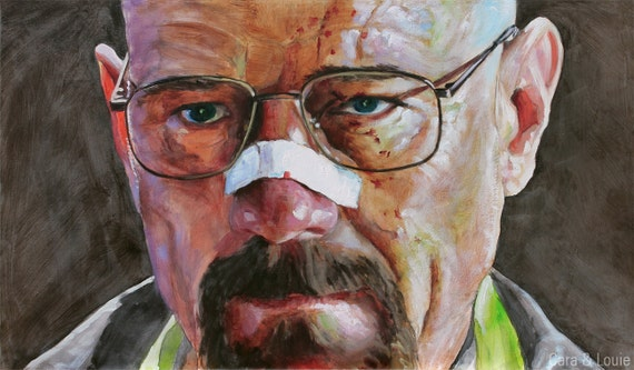 A Blood Spattered Walter White - Breaking Bad - Ink and Oil on Panel