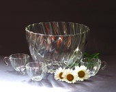 Vintage Punch Bowl and 28 Cups Hazel Atlas Colonial Swirl Pattern
