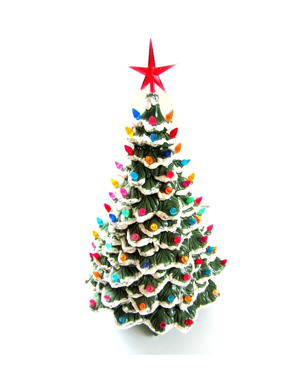Big W White Christmas Tree: Large Vintage Ceramic Christmas Tree W/ Lights And Pedestal