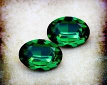18x13mm VINTAGE Swarovski Green Tourmaline Oval Glass Gems Jewels Stones, Foiled Backs, Quantity 2