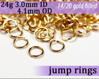 24g 3.0mm ID 4.1mm OD gold filled jump rings 24g3.00 goldfill jumprings 14k goldfilled jewelry supplies findings