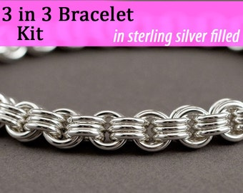 3 in 3 Chainmaille Bracelet Kit in Silver Filled