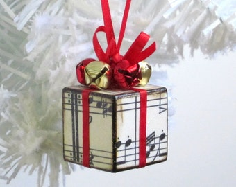 Small Christmas Tree Ornament Red Sheet Music Christmas Present Gift Decoration Jingle Bells