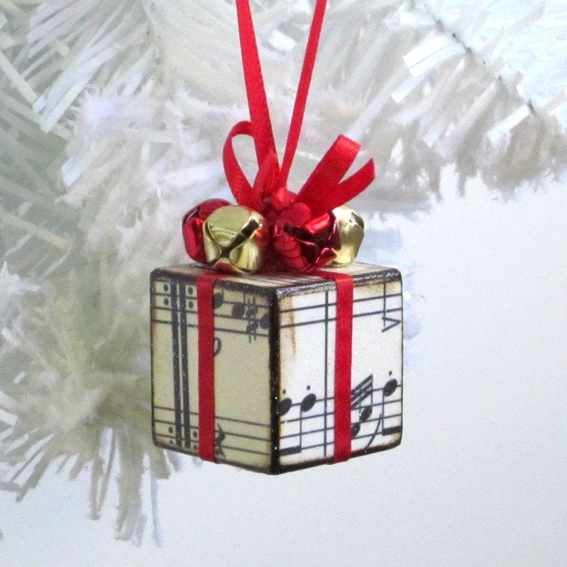 Small Christmas Tree Ornament Red Sheet Music Christmas
