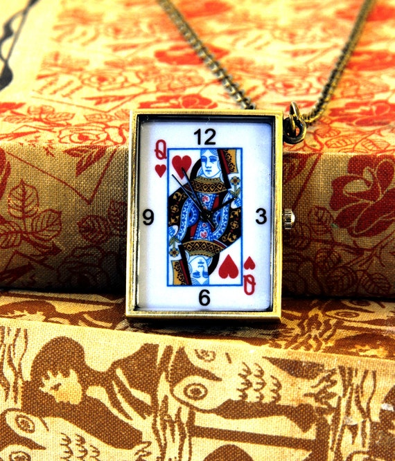 Queen of Hearts Pocket Watch Necklace, Playing Card Jewellery, Poker Player Gifts