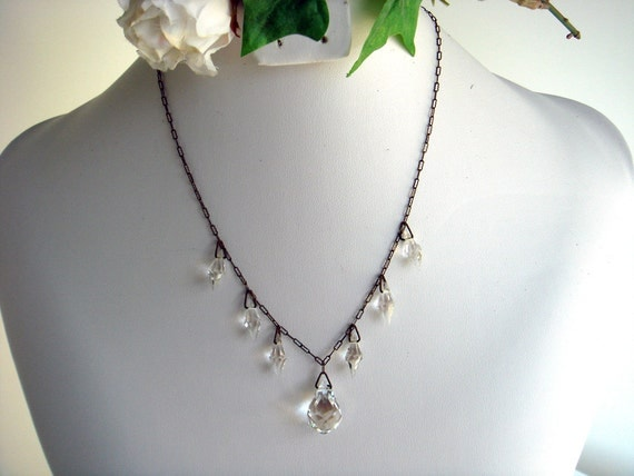 Art Deco Crystal Drops on Peanut Chain Necklace