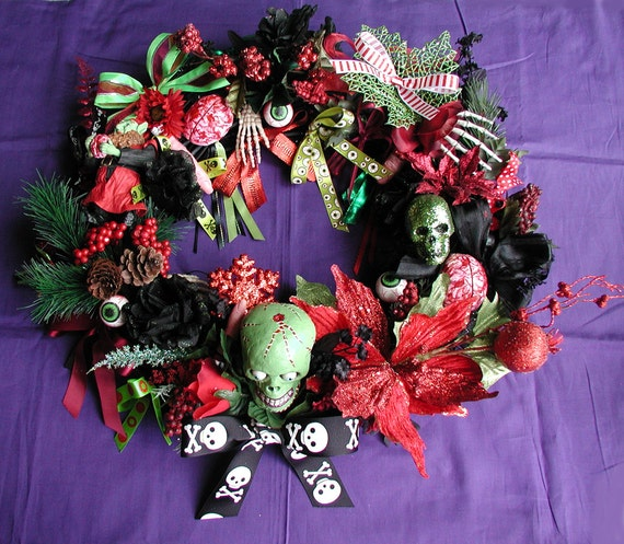 Items similar to zombie christmas wreath made order