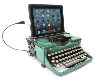 USB Typewriter Computer Keyboard and iPad Dock -- Teal Royal Portable