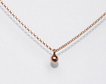 minimalist necklace. tiny ball pendant. delicate chain. sterling or gold vermeil • • katia droplet necklace