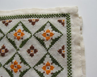 Vintage Cross Stitch Placemats or Doilies Green Orange