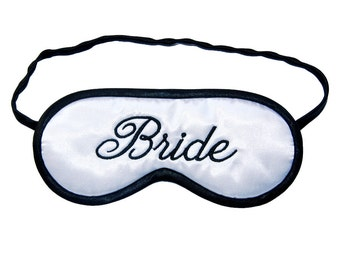 Bride Sleep Mask, Wife to be blindfold, Wedding night black and white sleeping eye mask, Bridal shower, Marriage gift , Silk satin or cotton