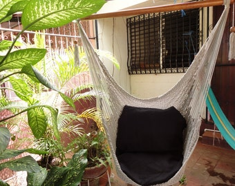 Grey Color Sitting Hammock, Hanging Chair Natural Cotton and Wood