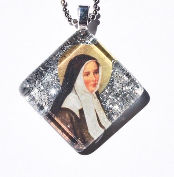 St Bernadette glass pendant confirmation gift