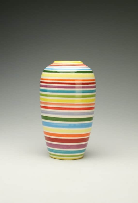 Colorful Striped Vase Hand Painted Yellows Oranges Reds Purples Blues Greens