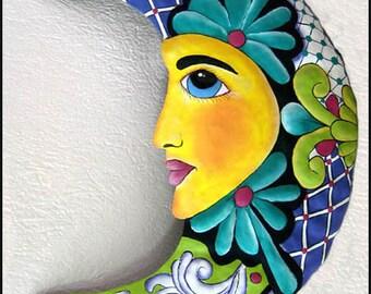 """Hand Painted Metal Art, Moon Wall Hanging - Metal Wall Art - 17"""" - Haitian Steel Drum Art, Garden Art - Tropical Home Decor - M-201-TQ-17"""