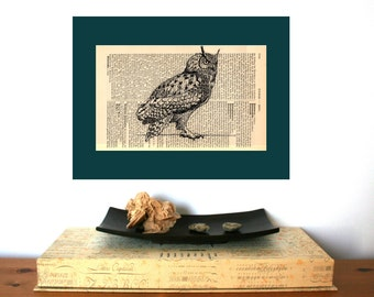 Eagle Owl 2 Medium Art Print on Antique 1896 Dictionary Book Page