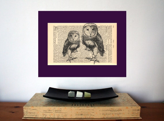 Two Barn Owls Art Print on Antique 1896 Dictionary Book Page