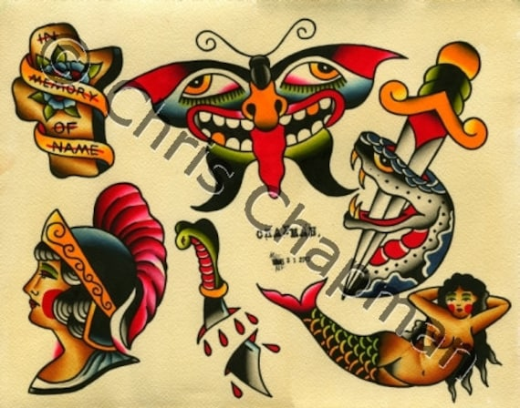 Mermaids N Snakes Daggers Tattoo Flash