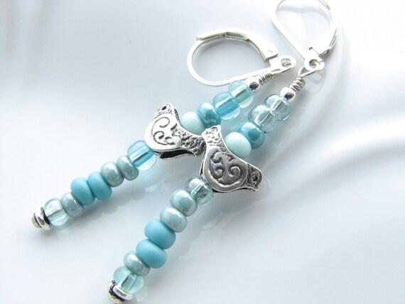 Turquoise blue aqua dangle earrings silver bird beaded earrings sterling silver