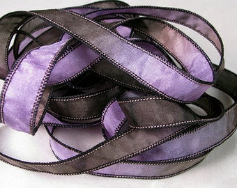 Hand Dyed Silk Ribbon - Hand Painted Jewelry Bracelet Wrap - Quintessence - Midnight Violet