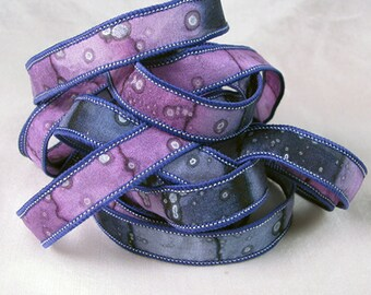 Hand Dyed Silk Ribbons - Hand Painted Silk Art  - Jewelry Ribbon Bracelet - Plum Berry Sparkle