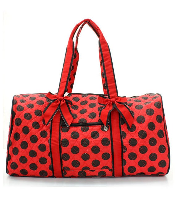 black and red polka dot quilted duffle bag monogrammed for