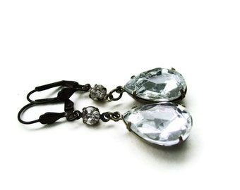 Vintage Glass Jewel Earrings Crystal - THE WHITE QUEEN estate jewellery sparkle rhinestone - Ltd Ed wedding bridal