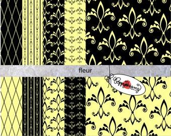 Fleur de Lis Black & Ivory: Digital Scrapbook Paper Pack (300 dpi) 10 digital papers ACEO Collage Art Mixed Media
