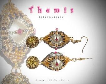 Bead Weaving Earring Pattern - Themise Earring Pattern
