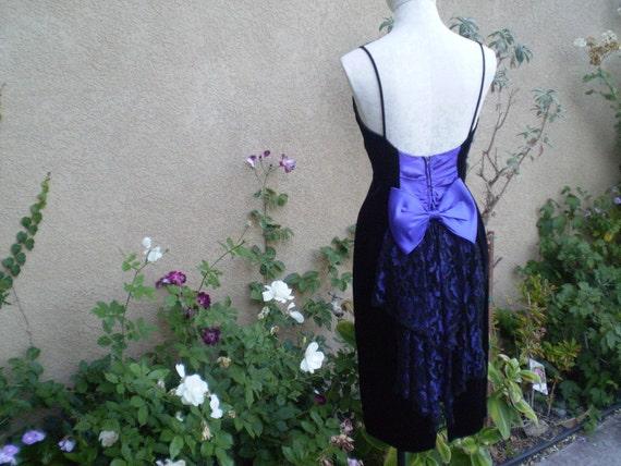 Vintage Gunne Sax Little Black Velvet Cocktail Dress with purple lace